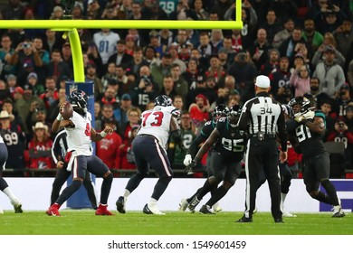 LONDON, ENGLAND - NOVEMBER 03 2019: Houston Texan's quarterback, Deshaun Watson (4) during the NFL game between Houston Texans and Jacksonville Jaguars at Wembley Stadium