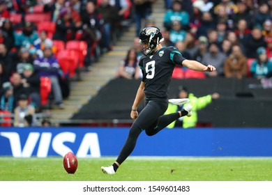 LONDON, ENGLAND - NOVEMBER 03 2019: Jacksonville Jaguars punter, Logan Cooke (9) during the NFL game between Houston Texans and Jacksonville Jaguars at Wembley Stadium