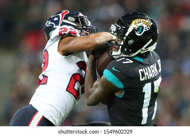 LONDON, ENGLAND - NOVEMBER 03 2019: Houston Texan's cornerback, Gareon Conley (22) and Jacksonville Jaguars wide receiver, D.J. Chark (17) during the NFL game