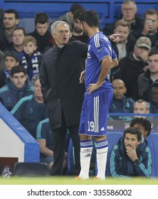 LONDON, ENGLAND - NOVEMBER 04 2015:  Manager Jose Mourinho and Diego Costa of Chelsea during the UEFA Champions League match between Chelsea and Dynamo Kyiv at Stamford Bridge