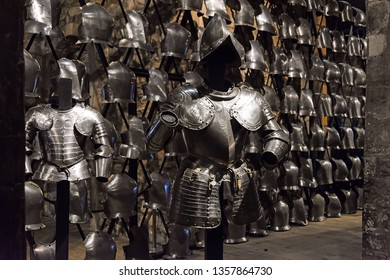 LONDON / ENGLAND – November 05 2017: Display of medieval knights armours in the Armoury of the Tower of London