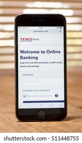 London, England - November 07, 2016: Tesco Online Bank Website and App, Tesco Bank was first formed in 1997.