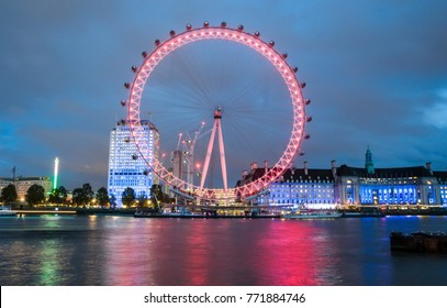 LONDON, ENGLAND - NOVEMBER 08, 2016. View of City Of London at sunset with London Eye the biggest attraction in London.