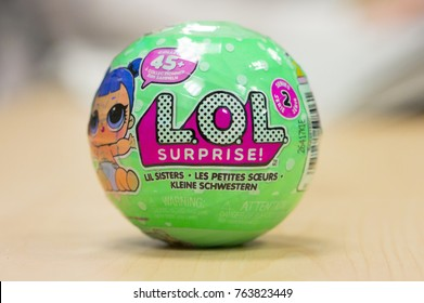 London, England - November 08, 2017: L.O.L. Surprise One of the best selling toys of 2017 contains a small collectible doll with 45 to collect. Made by MGA Entertainment.