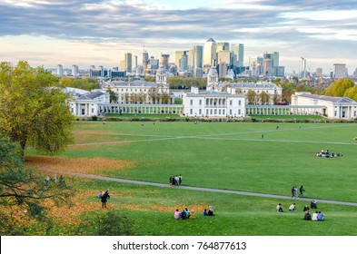 LONDON, ENGLAND - November 1, 2017 - View of Canary Wharf skyscrapers from Greenwich Park in autumn