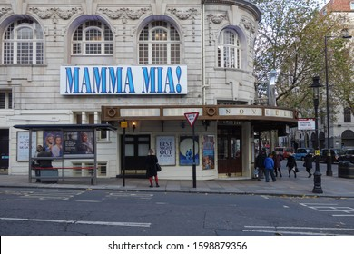 LONDON, ENGLAND - NOVEMBER 14, 2019: Street view with the Novello theatre and Mamma Mia musical in London, England