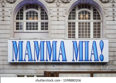 LONDON, ENGLAND - NOVEMBER 14, 2019: Mamma Mia musical sign on Novello theatre building in London, England