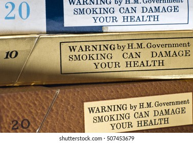 London, England - November 16, 2005: Government Health Warning on old Cigarette Packets from the 1970's
