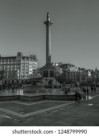 London, England, November, 18th, 2018. Trafalgar Square is a public square in the City of Westminster, Central London. The square commemorates the naval victory at the Battle of Trafalgar in 1805.