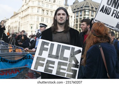LONDON, ENGLAND - NOVEMBER 19: Students take part in a protest march against fees and cuts in the education system on November 19, 2014 in London, England.