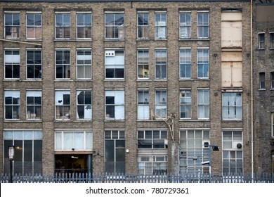 LONDON, ENGLAND - November 20, 2017 An abandoned building in an urban centre near tube station Old Street in East London.