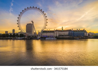 LONDON, ENGLAND - NOVEMBER, 2015. View of The London Eye at sunrise