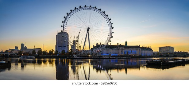 LONDON, ENGLAND - NOVEMBER, 2016. Panorama of The London Eye at sunrise