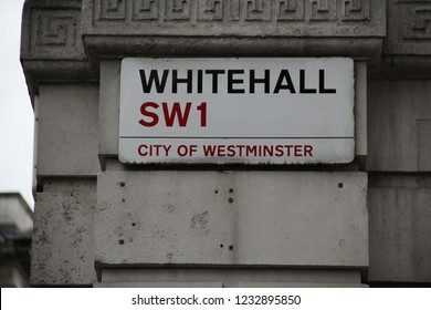 London, England - November 2018: Whitehall in the City of Westminster, London, UK. Government and British civil service with many departments and ministries, currently involved in BREXIT discussions
