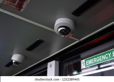 London; England - november 24 2018 : security camera in an interior of a bus