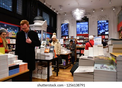 London; England - november 24 2018 : book shop in the Waterloo train station, the busiest railway station in UK