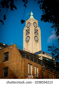 London, England - November 26, 2017: The OXO Tower, London, Britain, Oxo Tower Wharf is on the south bank of the River Thames in London and is now a Restaurant and Flats.