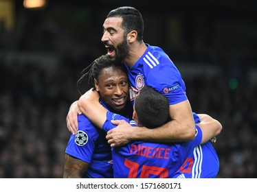 LONDON, ENGLAND - NOVEMBER 26, 2019: Ruben Semedo of Olympiacos celebrates after he scored a goal during the 2019/20 UEFA Champions League Group B game between Tottenham Hotspur FC and Olympiacos FC.