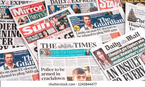 London, England - November 30, 2018: Pile of Newspapers from the United Kingdom