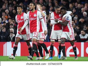 LONDON, ENGLAND - NOVEMBER 5, 2019: Quincy Promes celebrates after a goal scored during the 2019/20 UEFA Champions League Group H game between Chelsea FC and AFC Ajax at Stamford Bridge.