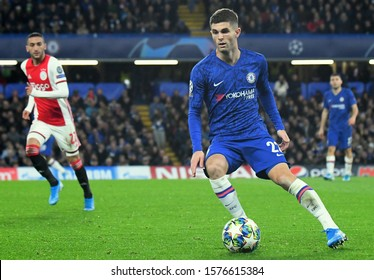 LONDON, ENGLAND - NOVEMBER 5, 2019: Christian Mate Pulisic of Chelsea pictured during the 2019/20 UEFA Champions League Group H game between Chelsea FC and AFC Ajax at Stamford Bridge.