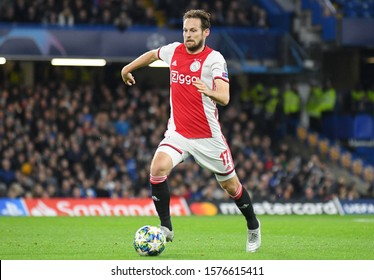LONDON, ENGLAND - NOVEMBER 5, 2019: Daley Blind of Ajax pictured during the 2019/20 UEFA Champions League Group H game between Chelsea FC (England) and AFC Ajax (Netherlands) at Stamford Bridge.