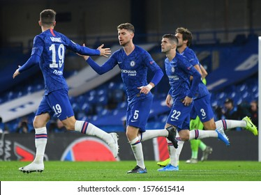 LONDON, ENGLAND - NOVEMBER 5, 2019: Jorginho celebrates after he scored a goal during the 2019/20 UEFA Champions League Group H game between Chelsea FC (England) and AFC Ajax (Netherlands).