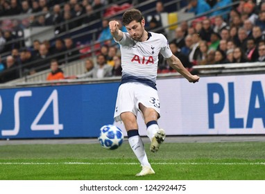 LONDON, ENGLAND - NOVEMBER 6, 2018: Ben Davies of Tottenham pictured during the 2018/19 UEFA Champions League Group B game between Tottenham Hotspur and PSV Eindhoven at Wembley Stadium.