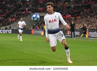 LONDON, ENGLAND - NOVEMBER 6, 2018: Dele Alli of Tottenham pictured during the 2018/19 UEFA Champions League Group B game between Tottenham Hotspur and PSV Eindhoven at Wembley Stadium.