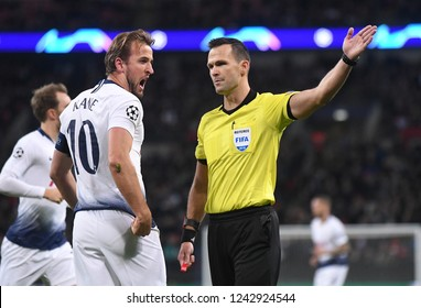 LONDON, ENGLAND - NOVEMBER 6, 2018: Slovak FIFA referee Ivan Kruzliak pictured during the 2018/19 UEFA Champions League Group B game between Tottenham Hotspur and PSV Eindhoven at Wembley St
