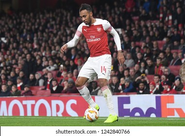 LONDON, ENGLAND - NOVEMBER 8, 2018: Pierre-Emerick Aubameyang of Arsenal pictured during the 2018/19 UEFA Europa League Group E game between Arsenal FC and Sporting CP at Emirates Stadium.
