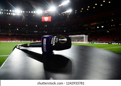 LONDON, ENGLAND - NOVEMBER 8, 2018: UEL branded TV mic pictured prior to the 2018/19 UEFA Europa League Group E game between Arsenal FC (England) and Sporting CP (Portugal) at Emirates Stadium.