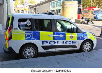 London, England - November,2018: City of London Police van waiting near the Tower of London, UK. Vehicle of the territorial police force responsible for law enforcement. Network Indicent Response Team