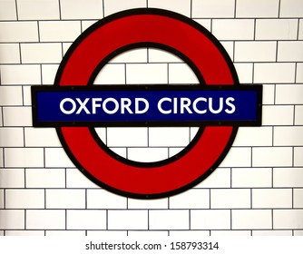 LONDON, ENGLAND - OCT 09: Underground Oxford Circus tube station in London on October 09, 2013. The London Underground is the oldest underground railway in the world covering 402 km of tracks.