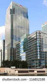 LONDON, ENGLAND - OCT 12: Canary Wharf UK HQ of Citi bank and HSBC on October 12, 2012 in London, England.Citibank and HSBC are by asset value the 14th and 2nd largest banks in the world