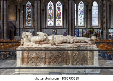 London, England - Oct 6,2017 : Tomb of Robert Lord Hungerford in Salisbury Cathedral (known as the Cathedral Church of the Blessed Virgin Mary), an Anglican cathedral in Salisbury, England.