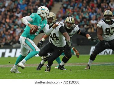 LONDON, ENGLAND - OCTOBER 01 2017: Miami Dolphins quarterback Jay Cutler (6) during the NFL match between the Miami Dolphins and the New Orleans Saints at Wembley Stadium in London, United Kingdom.