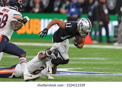 LONDON, ENGLAND - OCTOBER 06 2019: Wide Receiver Trevor Davis of The Oakland Raiders  during the NFL game between Chicago Bears and Oakland Raiders at Tottenham Stadium in London, United Kingdom.