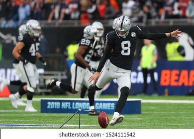 LONDON, ENGLAND - OCTOBER 06 2019: Kicker Daniel Carlson of The Oakland Raiders  during the NFL game between Chicago Bears and Oakland Raiders at Tottenham Stadium in London, United Kingdom.