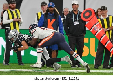 LONDON, ENGLAND - OCTOBER 06 2019: Cornerback Nick Nelson of The Oakland Raiders  during the NFL game between Chicago Bears and Oakland Raiders at Tottenham Stadium in London, United Kingdom.