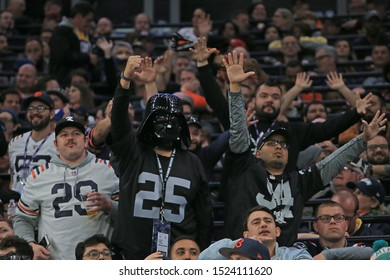 LONDON, ENGLAND - OCTOBER 06 2019: A raiders fan during the NFL game between Chicago Bears and Oakland Raiders at Tottenham Stadium in London, United Kingdom.