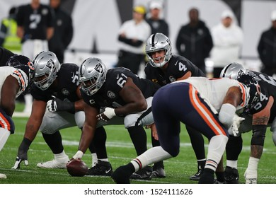 LONDON, ENGLAND - OCTOBER 06 2019: Quarterback Derek Carr of The Oakland Raiders  during the NFL game between Chicago Bears and Oakland Raiders at Tottenham Stadium in London, United Kingdom.