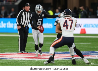 LONDON, ENGLAND - OCTOBER 06 2019: Punter A.J. Cole III of The Oakland Raiders  during the NFL game between Chicago Bears and Oakland Raiders at Tottenham Stadium in London, United Kingdom.