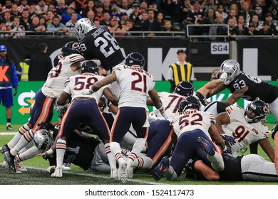 LONDON, ENGLAND - OCTOBER 06 2019: Running-back Josh Jacobs of The Oakland Raiders scores the winning touchdown during the NFL game between Chicago Bears and Oakland Raiders