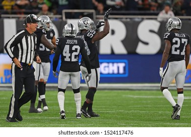 LONDON, ENGLAND - OCTOBER 06 2019: Outside Linebacker Tahir Whitehead of The Oakland Raiders during the NFL game between Chicago Bears and Oakland Raiders
