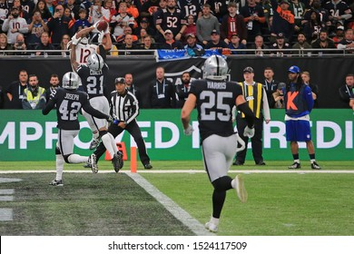 LONDON, ENGLAND - OCTOBER 06 2019: Wide Receiver Allen Robinson of The Chicago Bears scores a touchdown during the NFL game between Chicago Bears and Oakland Raiders