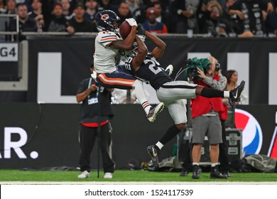 LONDON, ENGLAND - OCTOBER 06 2019: Wide Receiver Allen Robinson of The Chicago Bears catches the ball for a 1st down during the NFL game between Chicago Bears and Oakland Raiders