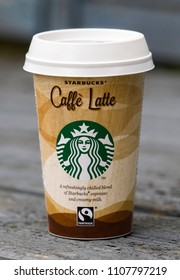 London, England - October 07, 2017: Starbucks Caffe Latte chilled coffee drink, Starbucks is the largest coffeehouse company in the world, Founded in Washington, 1971.