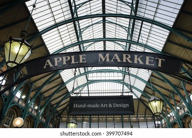 "LONDON, ENGLAND October 1, 2013: sign ""apple market"" in Covent Garden, London"