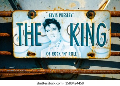 London, England - October 11, 2015: Elvis Presley Tribute Car Number Plate, Elvis Presley was an American Rock and Roll singer and actor born in 1935